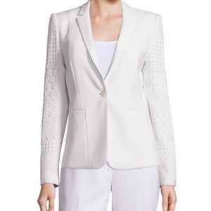 Elie Tahari One-Button Lace Sleeve Blazer